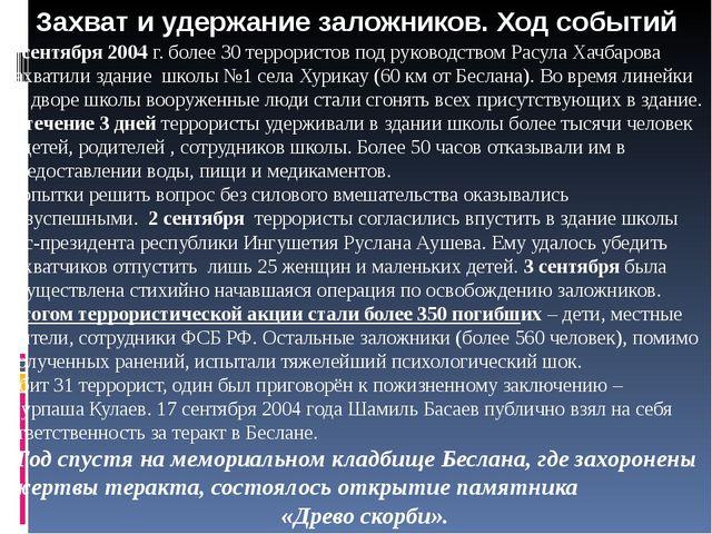 Захват и удержание заложников. Ход событий 1 сентября 2004 г. более 30 террор...