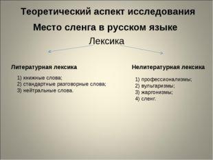 Теоретический аспект исследования Место сленга в русском языке Лексика Литер
