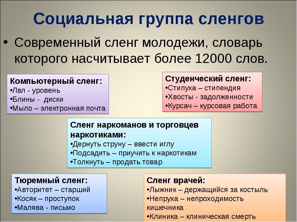 Социальная группа сленгов Современный сленг молодежи, словарь которого насчит...
