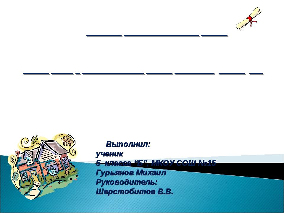 """Выполнил: ученик 5 класса """"Б"""", МКОУ СОШ №15 Гурьянов Михаил Руководитель: Ше..."""