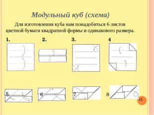Модульный куб (схема) Для изготовления куба нам понадобиться 6 листов цветной