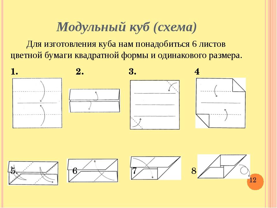 Модульный куб (схема) Для изготовления куба нам понадобиться 6 листов цветной...