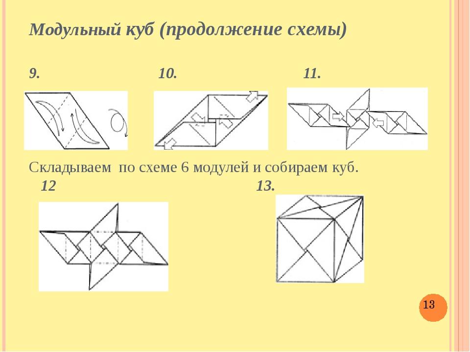 Модульный куб (продолжение схемы) 9. 10. 11. Складываем по схеме 6 модулей и...