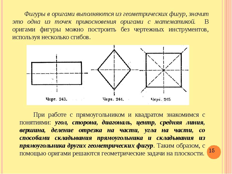 Фигуры в оригами выполняются из геометрических фигур, значит это одна из точ...