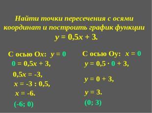 Найти точки пересечения с осями координат и построить график функции у = 0,5х