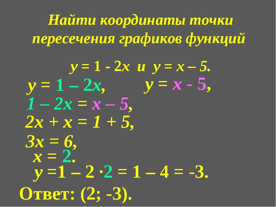 Найти координаты точки пересечения графиков функций у = 1 - 2х и у = х – 5. у...