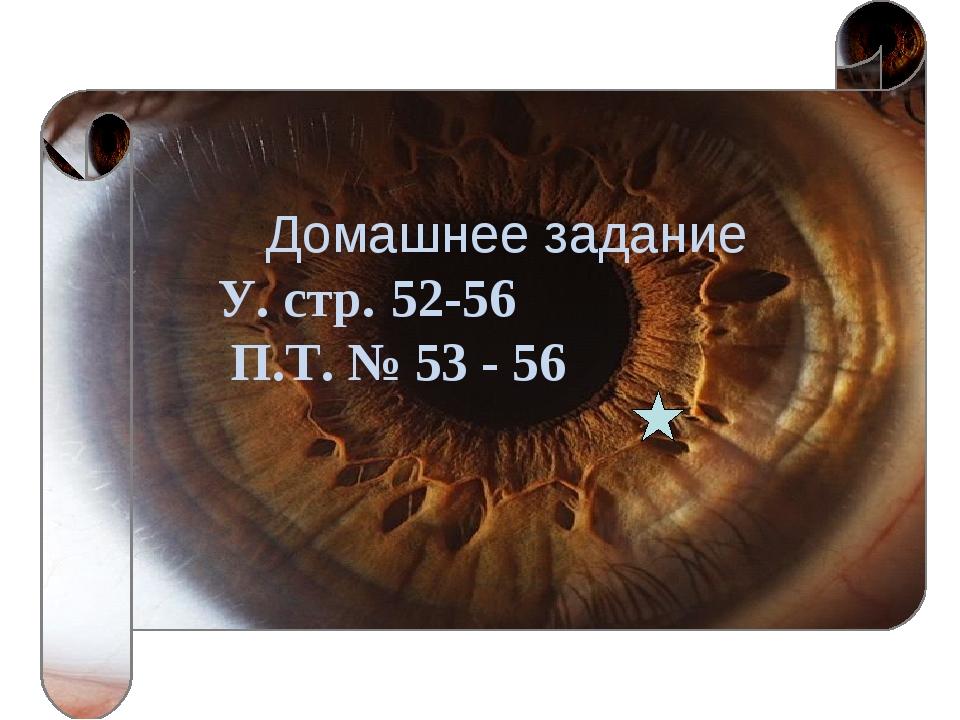 Домашнее задание У. стр. 52-56 П.Т. № 53 - 56