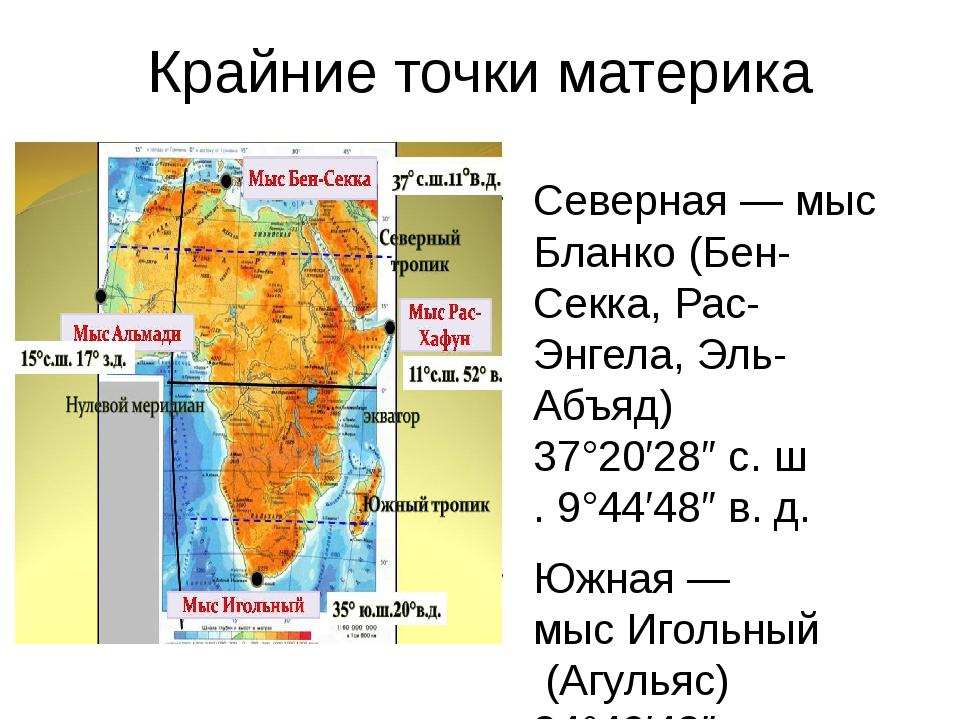 Крайние точки материка Северная—мыс Бланко(Бен-Секка, Рас-Энгела, Эль-Абъя...