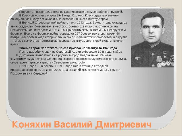 Коняхин Василий Дмитриевич Родился 7 января 1923 года во Владикавказе в семье...