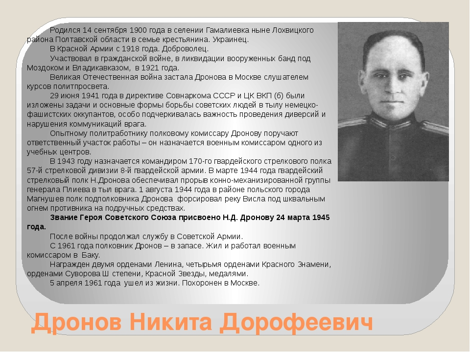 Дронов Никита Дорофеевич Родился 14 сентября 1900 года в селении Гамалиевка н...