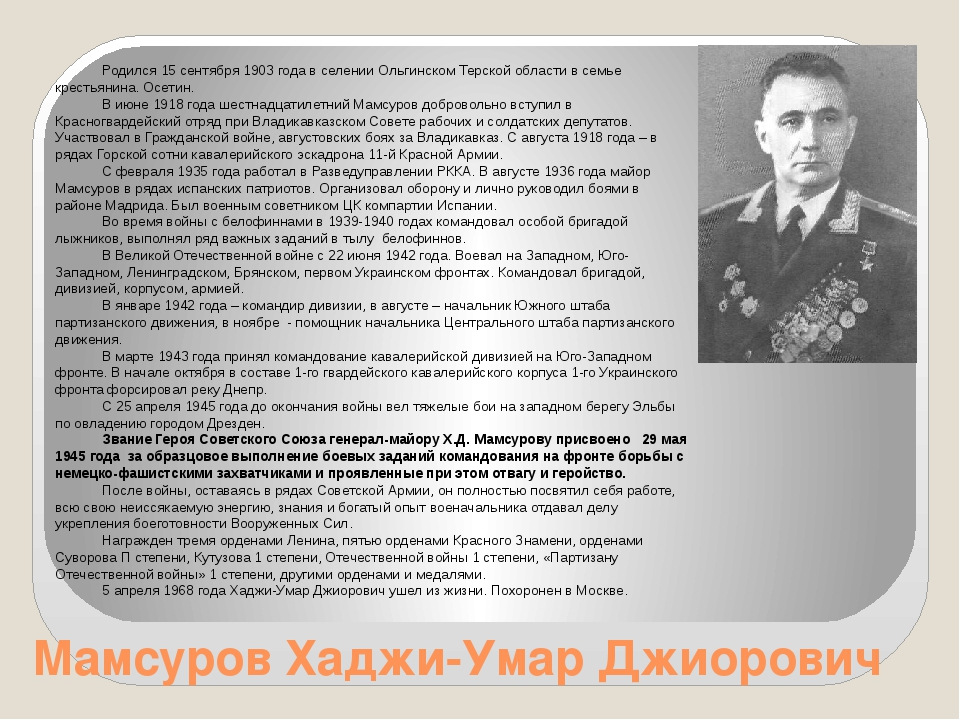Мамсуров Хаджи-Умар Джиорович Родился 15 сентября 1903 года в селении Ольгинс...