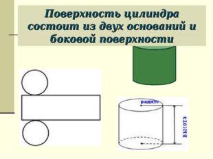 Поверхность цилиндра состоит из двух оснований и боковой поверхности