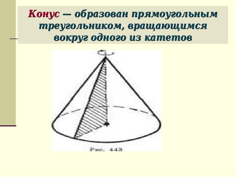 Конус — образован прямоугольным треугольником, вращающимся вокруг одного из к...