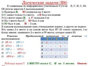 Логические задачи (B6) В олимпиаде по информатике участвовало 5 уч-ся: В, Г