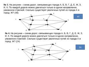 № 3. На рисунке – схема дорог, связывающих города А, Б, В, Г, Д, Е, Ж, З, И,