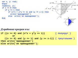 var x, y: real; begin readln(x, y); if x >= 0 then if y = 0) and (x*x + y*y =