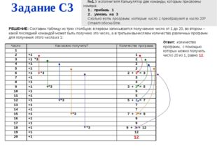 Задание С3 №1.У исполнителя Калькулятор две команды, которым присвоены номера