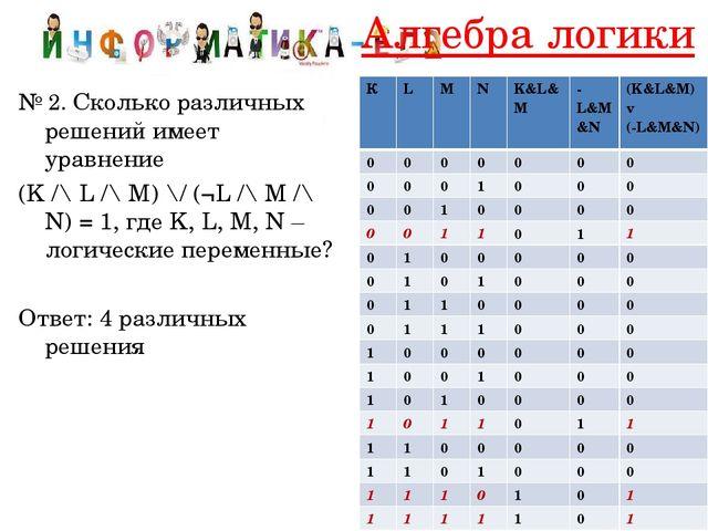 Алгебра логики № 2. Сколько различных решений имеет уравнение (K /\ L /\ M) \...