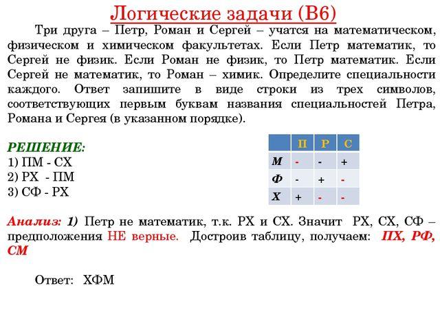 Логические задачи (B6) Три друга – Петр, Роман и Сергей – учатся на математ...