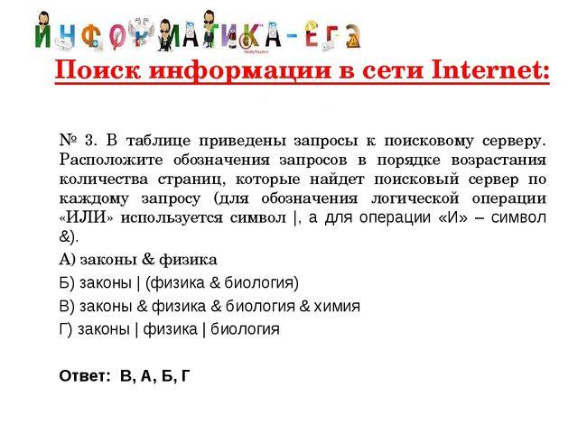 Поиск информации в сети Internet:   № 3. В таблице приведены запросы к по...