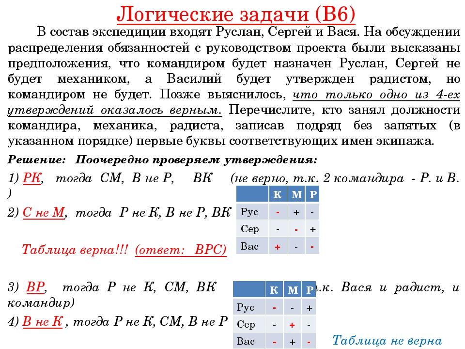 Логические задачи (B6) В состав экспедиции входят Руслан, Сергей и Вася. На...