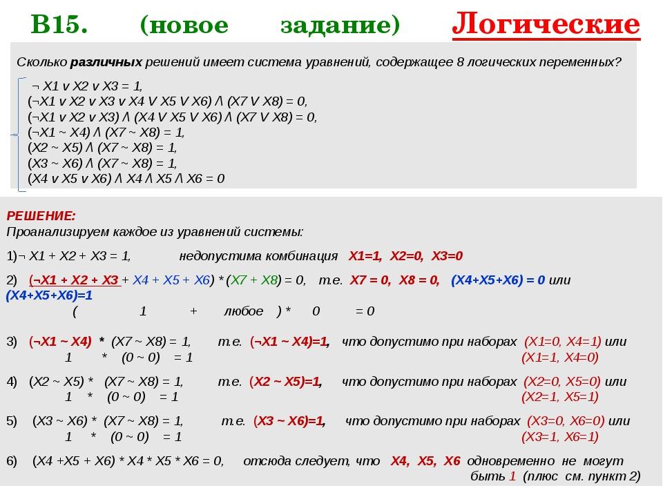 В15. (новое задание) Логические уравнения   Сколько различных решений имее...