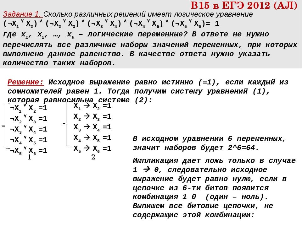 Задание 1. Сколько различных решений имеет логическое уравнение (¬X1  X2) ...