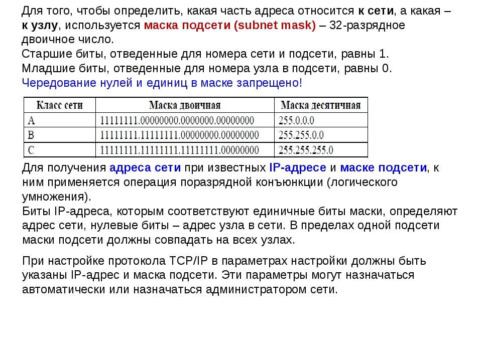 Для того, чтобы определить, какая часть адреса относится к сети, а какая – к...