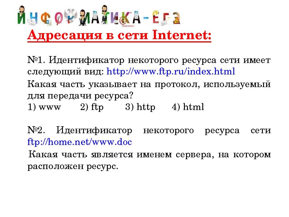 Адресация в сети Internet:  №1. Идентификатор некоторого ресурса сети имее...