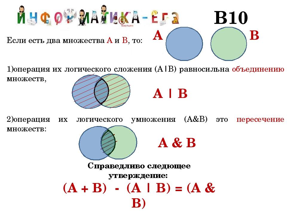 В10 Если есть два множества А и В, то: операция их логического сложения (А|В)...