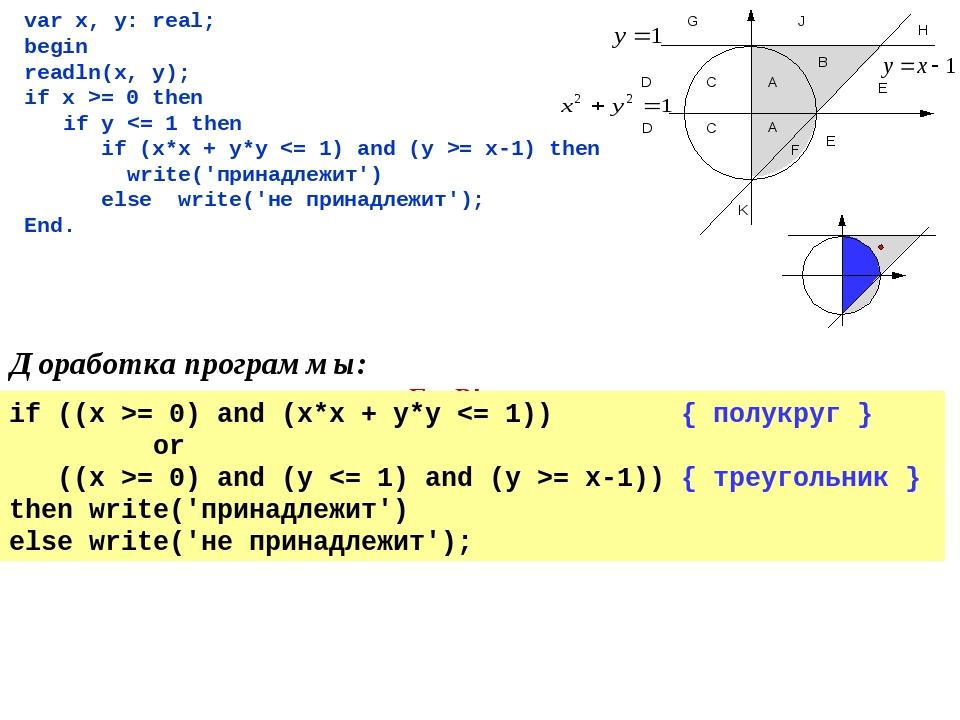 var x, y: real; begin readln(x, y); if x >= 0 then if y = 0) and (x*x + y*y =...