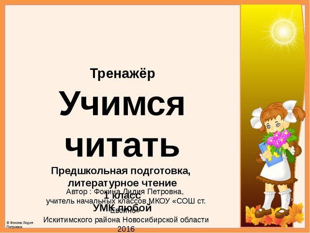 Тренажёр Учимся читать Предшкольная подготовка, литературное чтение 1 класс У...