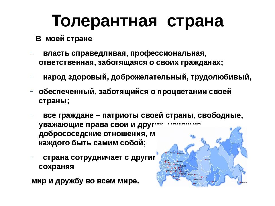 Толерантная страна В моей стране власть справедливая, профессиональная, ответ...