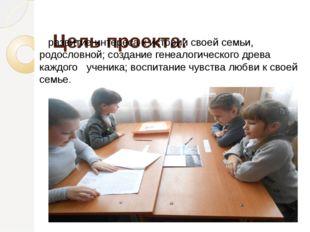 Цель проекта: развитие интереса кистории своей семьи, родословной; создание