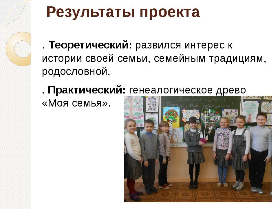 Результаты проекта . Теоретический: развился интерес к истории своей семьи, с...