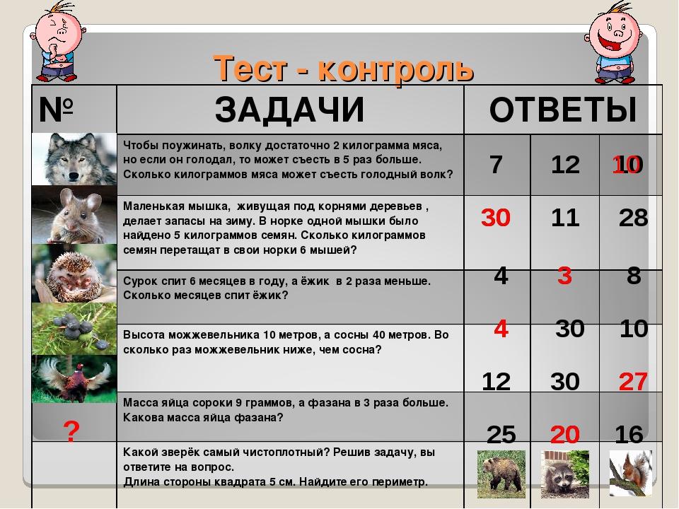 Тест - контроль ? 25 20 16 7 12 10 30 11 28 4 3 8 4 30 10 12 30 27 10 30 3 4...