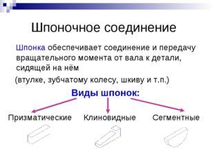 Шпоночное соединение Шпонка обеспечивает соединение и передачу вращательного
