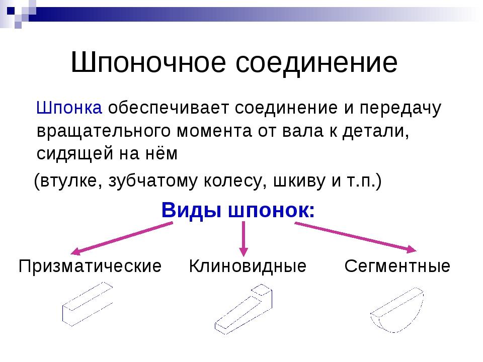 Шпоночное соединение Шпонка обеспечивает соединение и передачу вращательного...