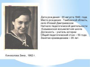Кинжалова Зина , 1962 г. Дата рождения - 20 августа 1943 года Место рождения