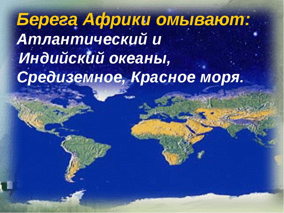 Берега Африки омывают: Атлантический и Индийский океаны, Средиземное, Красное...