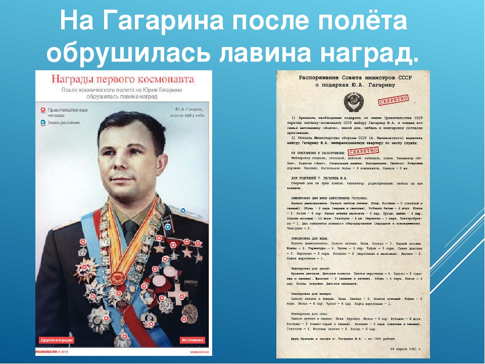 На Гагарина после полёта обрушилась лавина наград.