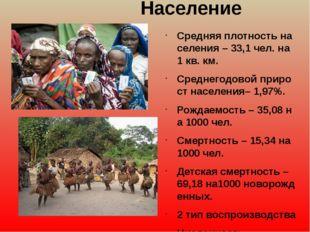 Население Средняяплотностьнаселения–33,1чел.на1кв.км. Среднегодовой