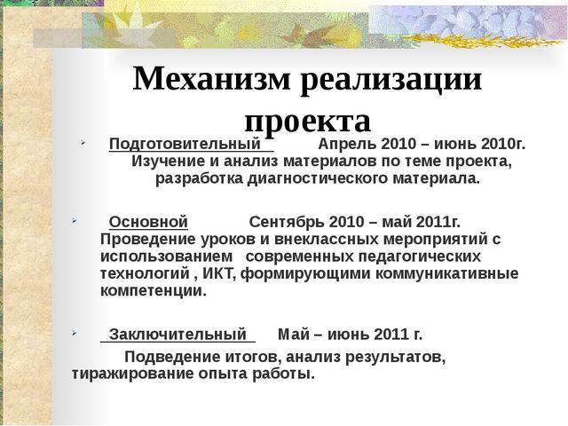 Механизм реализации проекта Подготовительный Апрель 2010 – июнь 2010г. Изуче...