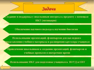 Задачи Создание и поддержка у школьников интереса к предмету с помощью ИКТ (м