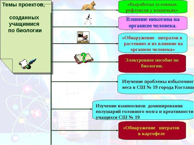 Темы проектов, созданных учащимися по биологии «Выработка условных рефлексов...