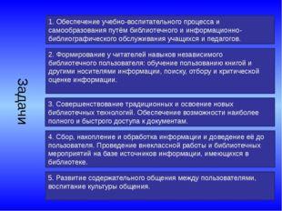 Задачи 1. Обеспечение учебно-воспитательного процесса и самообразования путём