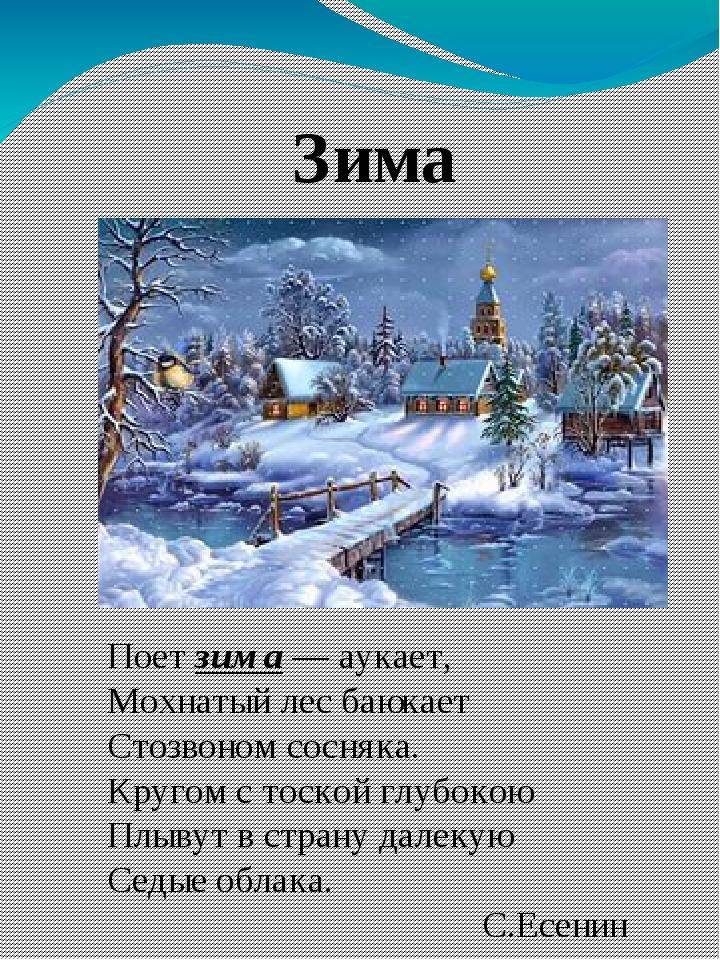 Зима Поет зима — аукает, Мохнатый лес баюкает Стозвоном сосняка. Кругом с тос...