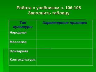 Работа с учебником с. 106-108 Заполнить таблицу