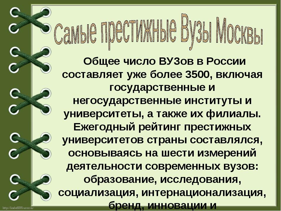 Общее число ВУЗов в России составляет уже более 3500, включая государственны...