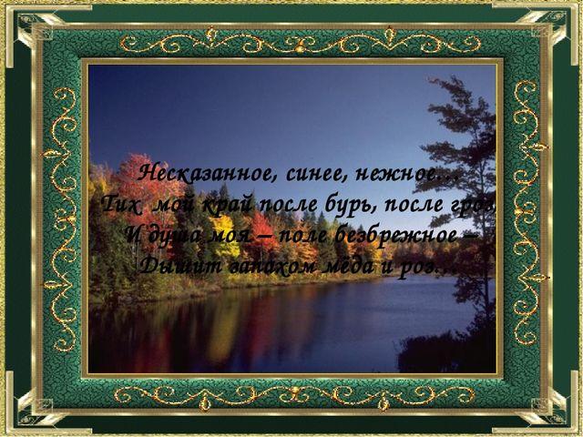 Несказанное, синее, нежное… Тих мой край после бурь, после гроз, И душа моя...